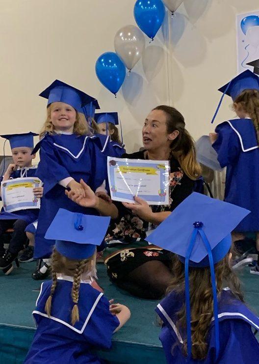Presenting graduation certificate